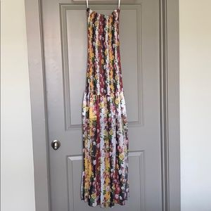 Floral strapless smocked maxi dress